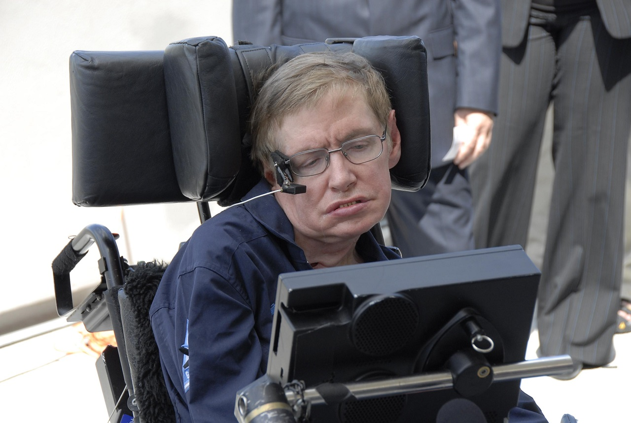Stephen Hawking at Kennedy Space Center Shuttle Landing Facility