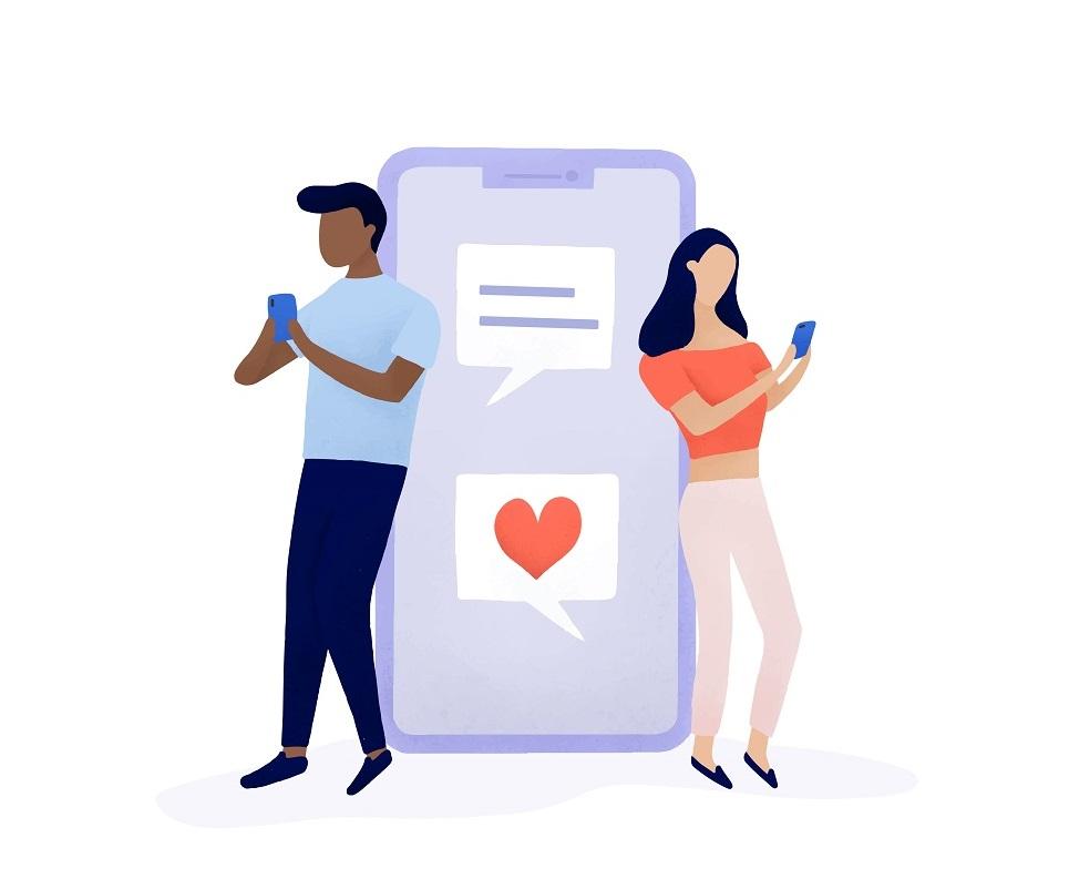 Couple chatting on social media